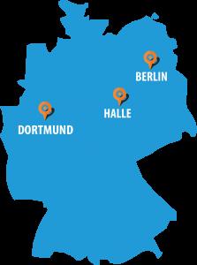 Deutschlandkarte Standorte der Automobil Akademie